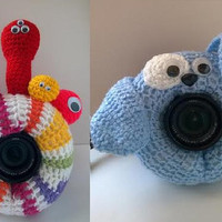 Camera Cover, Photographer Equipment, Photographer Accessory, Colorful Camera Cover, Lens Buddy, Crochet Monster, Crochet Dog