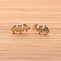 BATMAN stud earrings in gold  by bythecoco on Zibbet