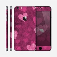 The Purple and Pink Layered Hearts Skin for the Apple iPhone 6 Plus