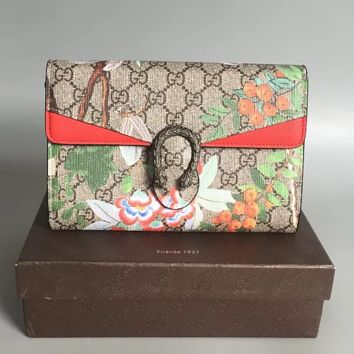 Gucci butterfly flower PVC with deerskin Gucci  bag shoulder bag
