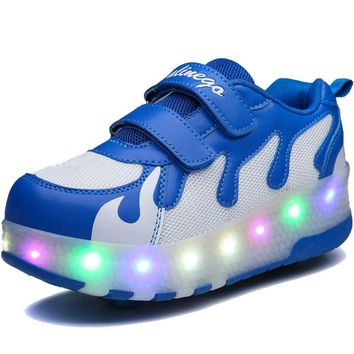 LED Double Roller Light Up Skate Shoes Adults Flashing Breathable Luminous Sneakers With Wheels Shoes Men Women Glowing Shoes