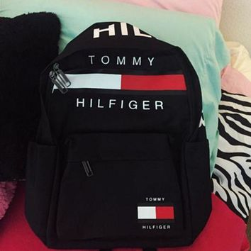 TOMMY HILFIGER: Fashion Women Men Schoolbag Bag Backpack For Boy With Girl Black