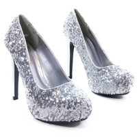 Shiro Silver Sequins Sparkling Party Pumps Dancing Heels Dress Platform Pumps-6.5