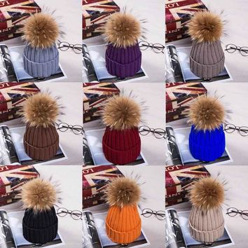 15 colors  Natural Fur Raccoon Fur Pompon Winter Women Warm Knit Hat Cap Crochet Skullies Beanie With Big Ball Solid Thick Cap