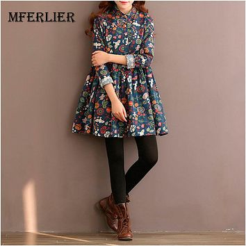 Autumn Winter Dress Women Flower A Line Dress Women Long Sleeve High Waist Turn Down Collar Cotton Lolita Dress Size M-2XL