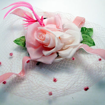 Pink Rose Veil Birdcage Net Wedding Hat - 1940s Vintage Bridal Wedding -Velvet Ribbon Bachelorette Veil - Dress Up Costume