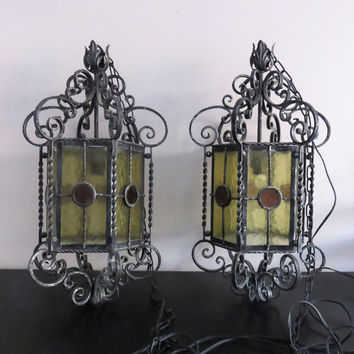 Vintage wrought iron stained glass hanging pendant lamps - Gothic church chandelier lighting (Set of 2)
