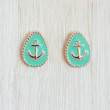 Mint Anchor Stud Earrings