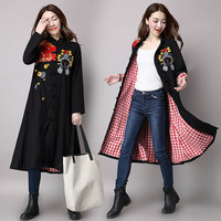 Autumn Vintage National Style Women Single-breasted Plate Button Embroidery Floral Mandarin Collar Long Sleeve Trench Coat