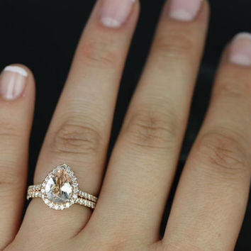 Tabitha 9x7mm 14kt Rose Gold Pear Morganite and Diamonds Halo Wedding Set (Other metals and stone options available)