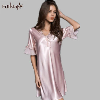 Fdfklak 2017 Summer New Ladies Sleepwear Nighties Sexy Silk Nightgowns Female Plus Size Women Nightdress Negligees M-XXL E0851