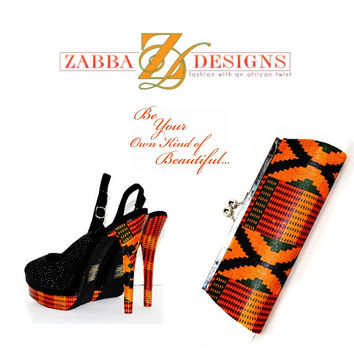 Orange And Black Kente African Print , Luxury Slingback & Purse Perfect Set