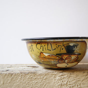 Snowman Bowl Christmas Decoration Hand Painted Rustic Snowman White Enamelware Bowl With Yellow Speckles Just Chillin!