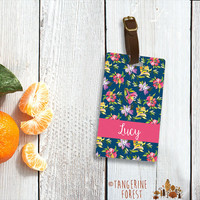 Blue Floral Personalized Luggage Tag