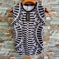 Balmain Women Casual Personality Chain Pattern Print Sleeveless Vest Buttons Decoration T-shirt Tops