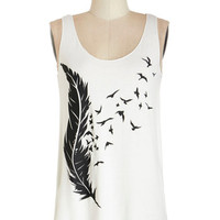 ModCloth Bird Mid-length Tank top (2 thick straps) Drawn with the Wind Tank