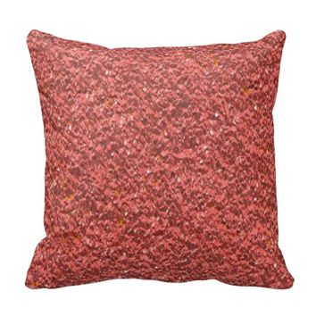 Salmon Pink Faux Glitter Texture Pillows