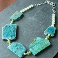 Genuine Slab Turquoise Necklace with Green Garnet Beads | BellaSweet - Jewelry on ArtFire