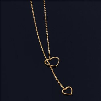 SHE WEIRE women's clothing accessories chain chocker vintage best friends heart stainless steel necklaces & pendants bijoux