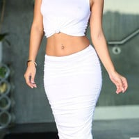 White Knotted Crop Top Ruched Bodycon Skirt Set