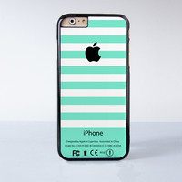 Apple Logo Green Mint Stripes Plastic Case Cover for Apple iPhone 6 6 Plus 4 4s 5 5s 5c
