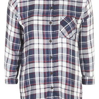 Longline Checked Shirt - Navy Blue