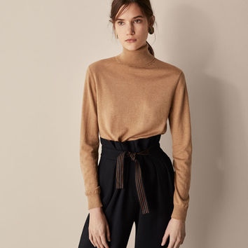 PLAIN SILK/WOOL SWEATER - Women - Massimo Dutti