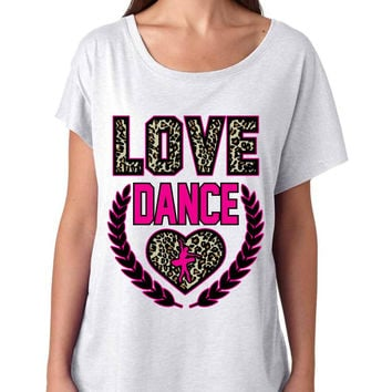 Love Dance Leopard Womens Tri-Blend Dolman shirt
