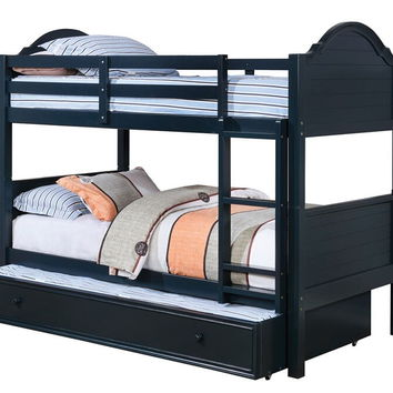 Denise collection blue finish wood twin over twin paneled headboards bunk bed set