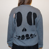 Studded Gray Skull Cut-Out Crewneck