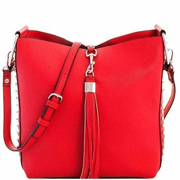 Red Jacey Studded Handbag