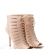 Caged Lace-Up Stilettos