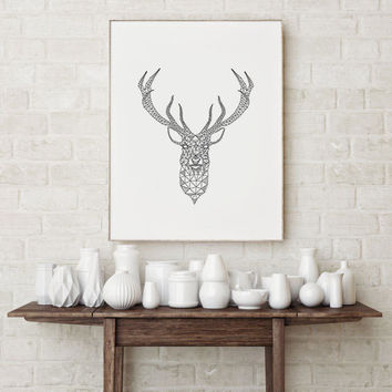 Animal Print, Printable Art, Deer Head Download, Deer Print, Deer Antlers, Woodlands Decor, Wilderness Wall Art, Nursery Black and White