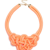 Can You Knot Necklace - Neon Coral