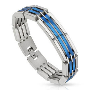Stainless Steel Dual Toned Crescent Link Blue IP Bracelet with Bracelet Dimension of 14MMx215MM and Gauge Thickness of 5MM