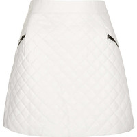 White Quilted Aline Skirt