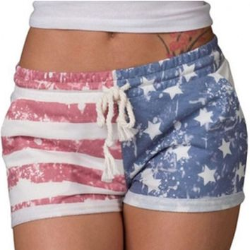 Hot Sale Short Pants Women American Flag Shorts Sexy Drawstring Beach Pants Striped Elastic Waist Short Femme