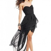 Corset Back Bustier High-Low Dress
