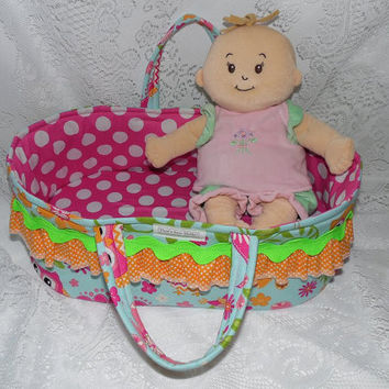 "Doll Carrier Bed, Owl Print, For Dolls and Stuffed Animals Up To 15"" Tall, Baby Stella, Cabbage Patch Kids, Bitty Baby"