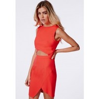 Missguided - Evie Crepe Cut Out Asymmetric Bodycon Dress Neon Coral