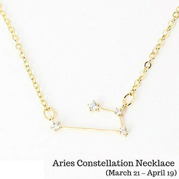 Aries Constellation Zodiac Necklace (03/21-04/20) - As seen in Real Simple, People Magazine & more