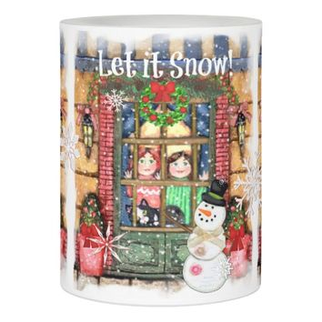 Christmas Winter Cats and Kids Scene 2 Candle Flameless Candle