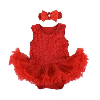 Retail Baby Clothing Set Baby Girl Clothes 2pcs Sets Romper Vest Tutu Dress+ Headband 2pcs Sets Printed Princess Tutu DressLH6s