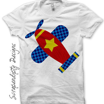 Airplane Iron on Transfer - Kids Iron on Shirt PDF / Airplane Shirt Design / Baby Boys Clothes / Airplane Printable / Fabric Transfer IT127