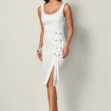 Lace Up Detail Dress in White | VENUS