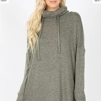 Olive Cowl Neck Tunic Sweater