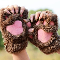 Fluffy Bear/Cat Plush Paw/Claw Glove Novelty Soft Women's Gloves Mittens = 1929544580