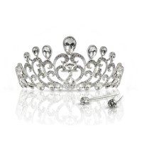 Beneleaf Crown Tiara Sparkling Headband with Comb for Women and Girls. 2 Free Matchin Pins Included.