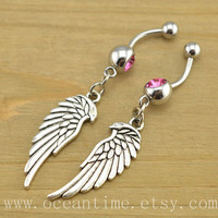 angel wings Belly Button jewelry,bestfriend Navel Jewlery,wings belly button ring,bestfriend belly rings,friendship jewelry