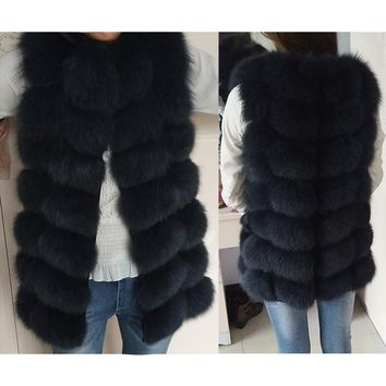 Natural Real Fox Fur Vest Jacket Waistcoat Short sleeveless Vestwoman winter warm Natural Fur Vest Real Fur Jacket Fox Fur Coats